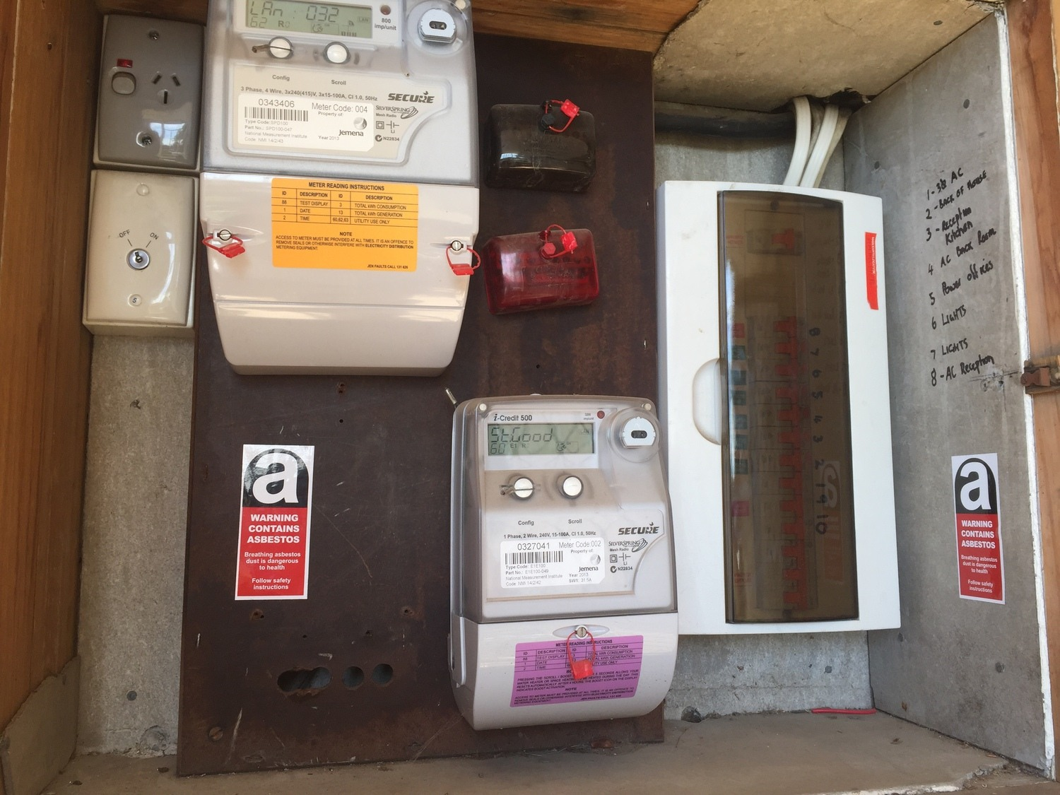 An asbestos inspection must account for the electrical boxes and backing boards. This electrical cupboard has asbestos cement lining materials and an asbestos containing backing board. Electricians must be made aware of any asbestos materials like this on your site.