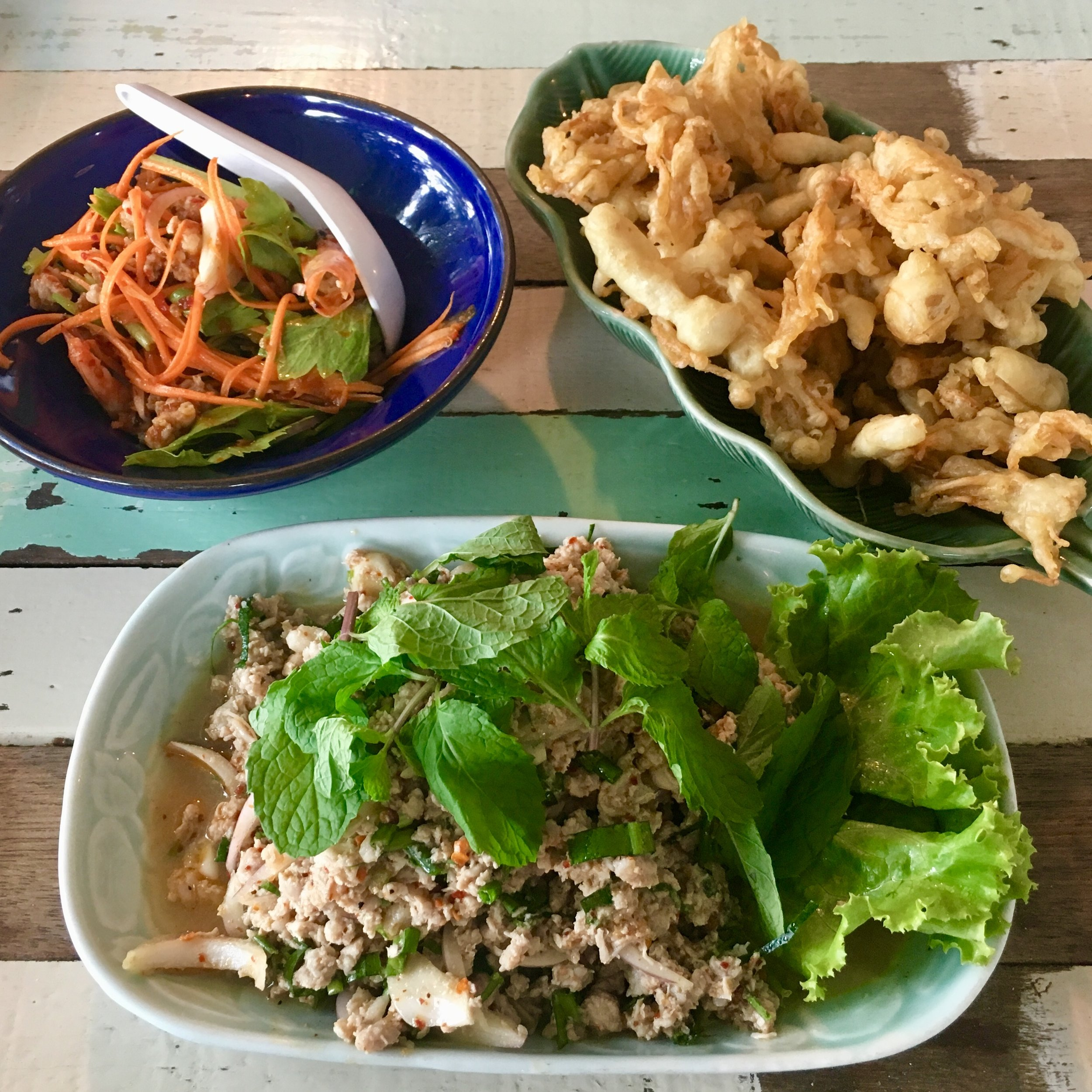 Yam Hed Tod (fried mushrooms w/ sweet & sour veggies) and Laab Moo from a spot in Lop Buri