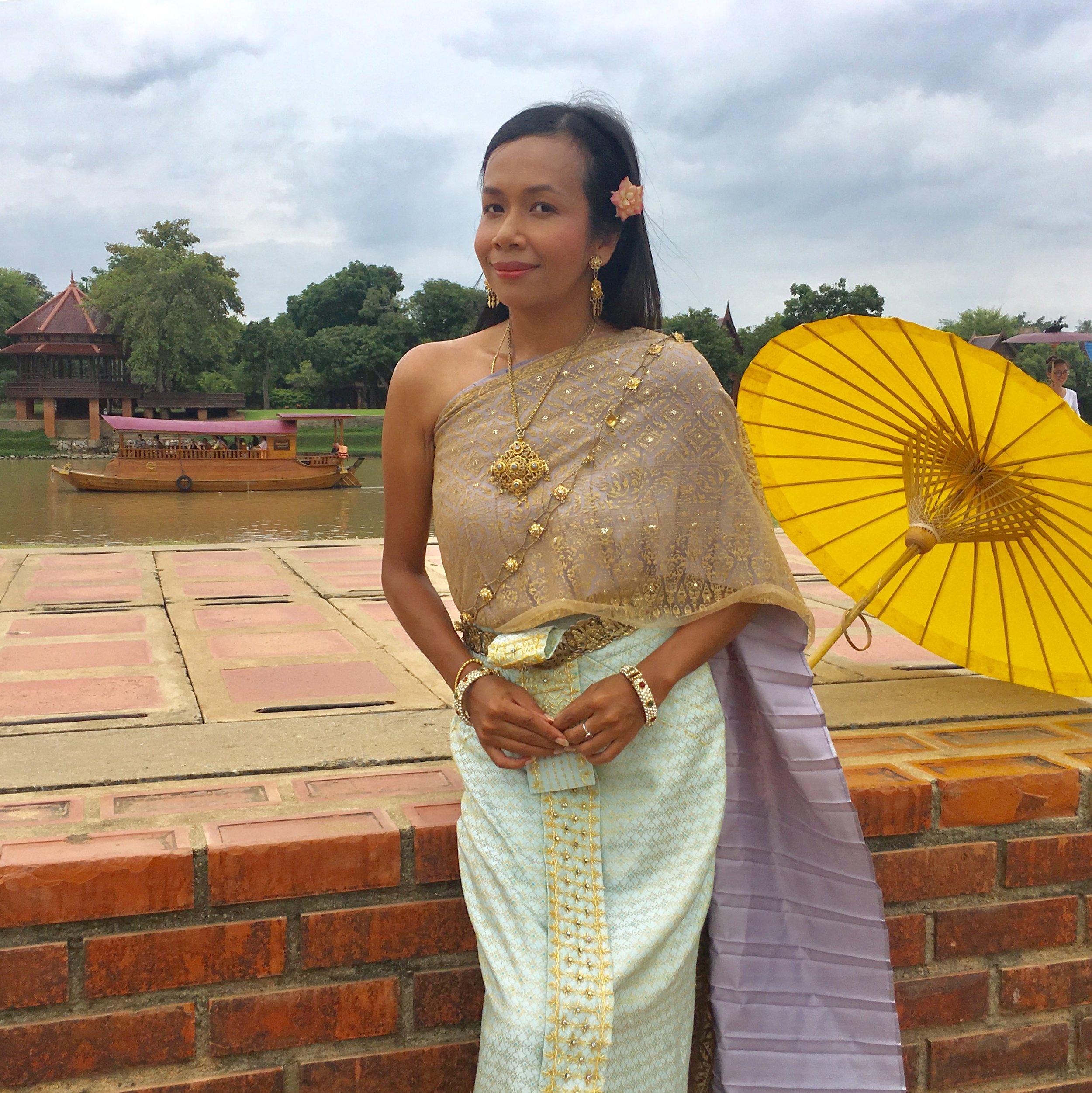 Renu in period dress in Ayutthaya