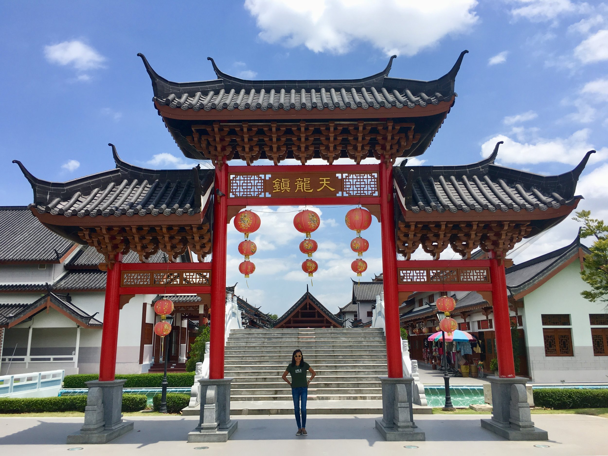 Replica city gate at City Pillar Shrine in Suphan Buri