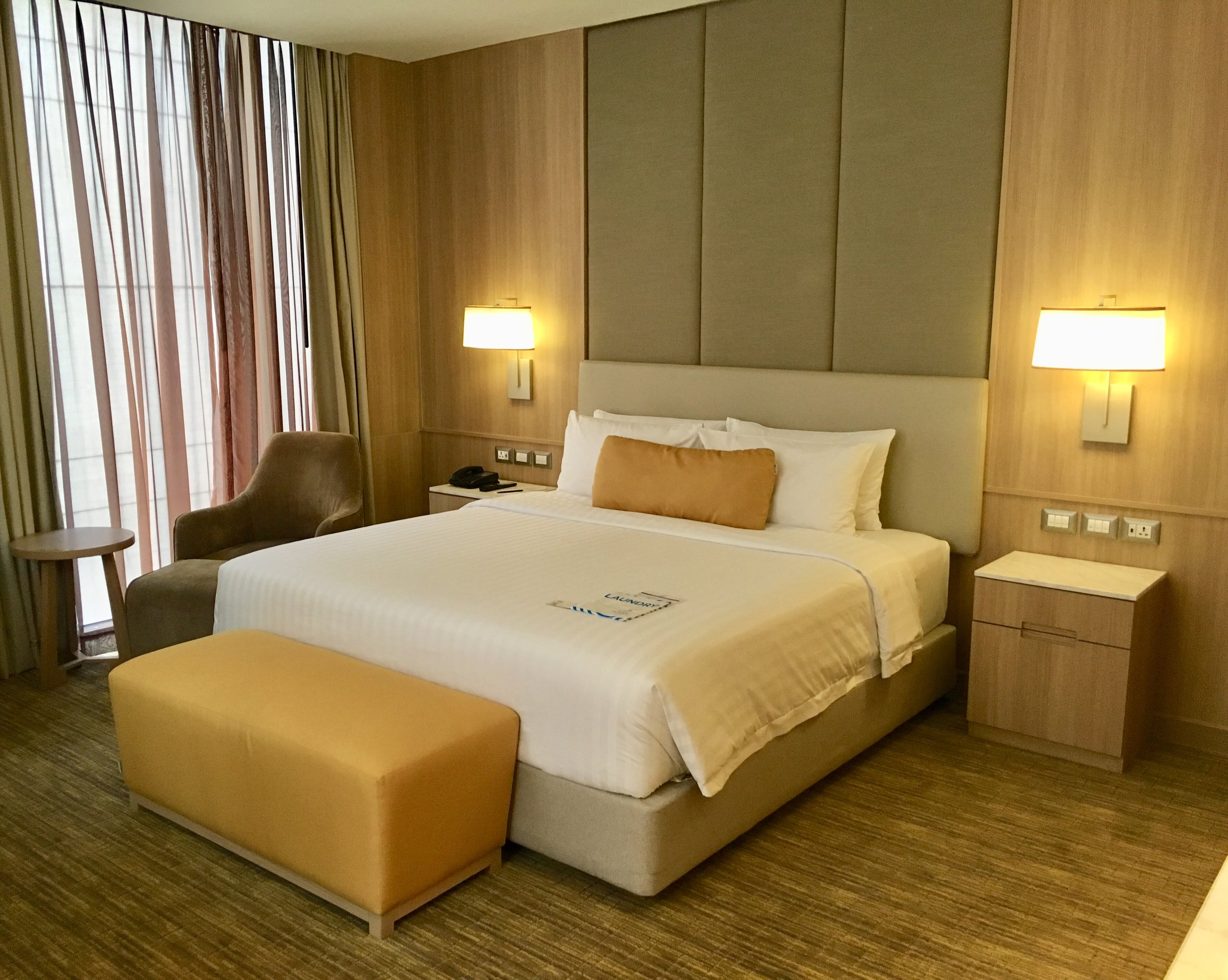Very modern, clean, and comfortable executive corner room