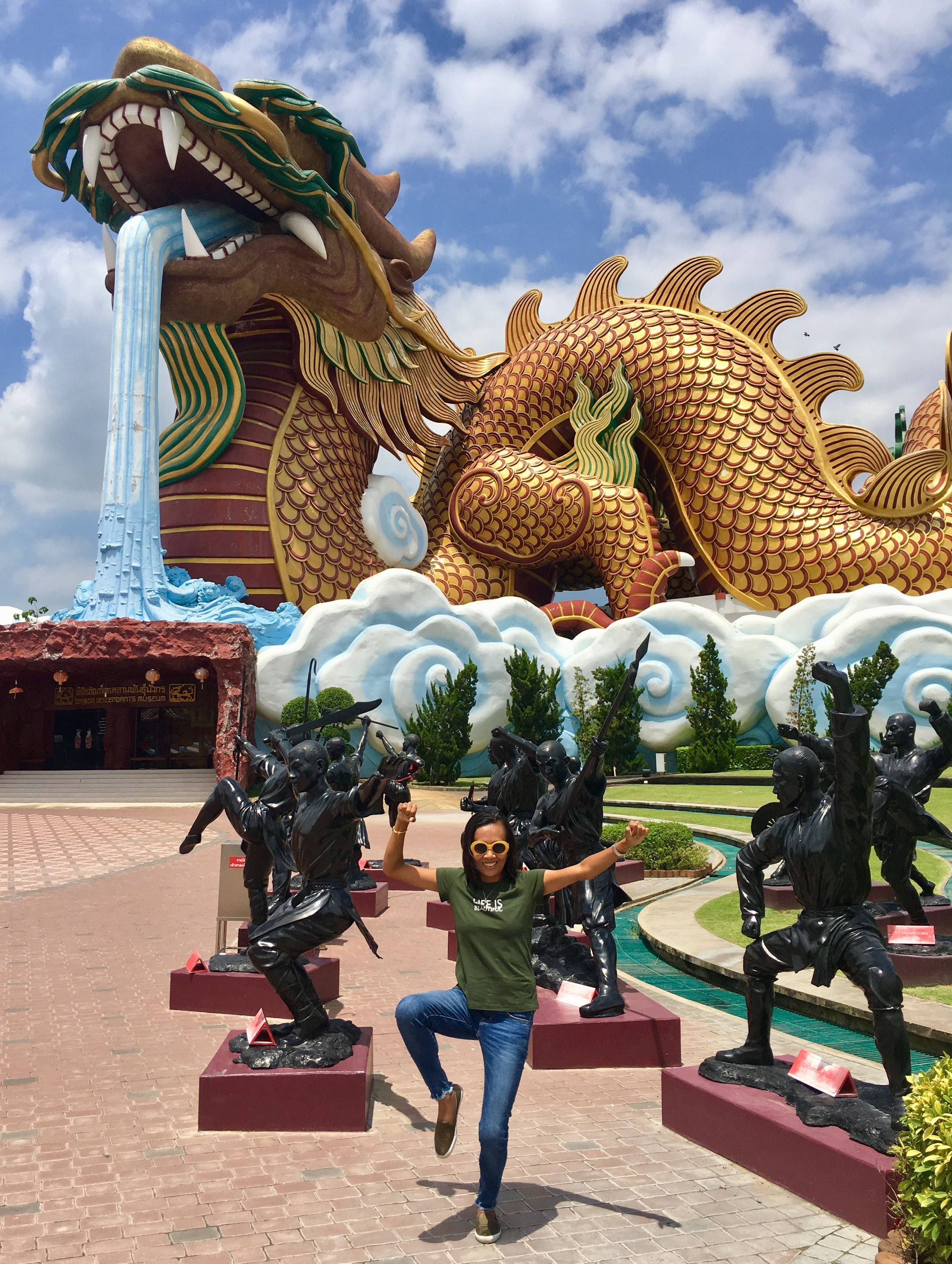 """The huge Celestial Dragon """"statue"""" which is also the building that houses the Dragon Descendants museum"""