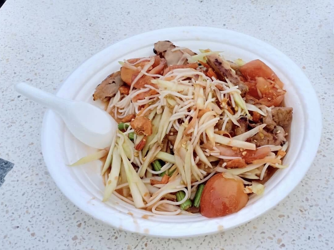 Tam Koh Moo Yang: spicy green papaya salad with grilled pork neck