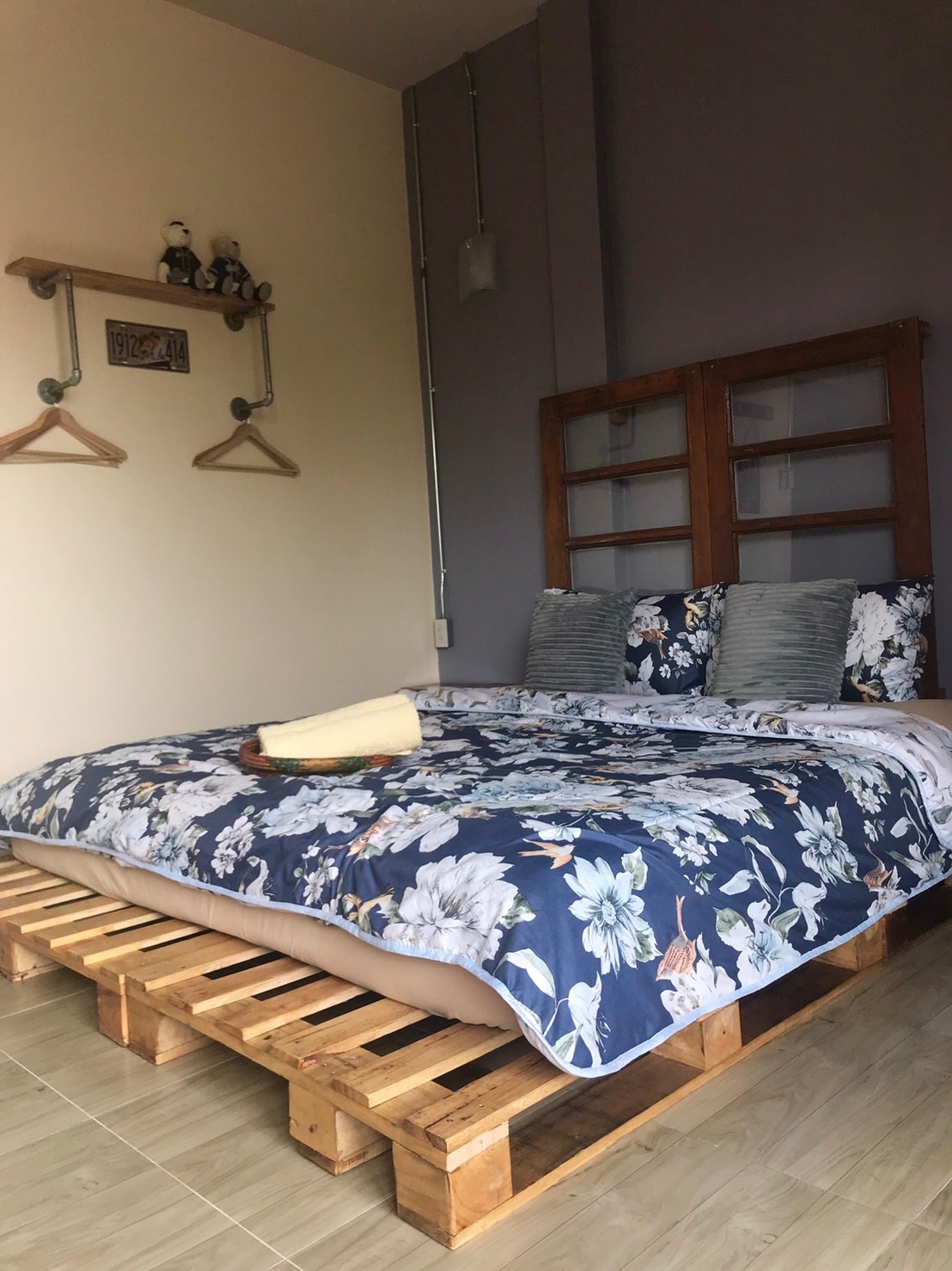 Funky (but comfy!) bed in bedroom upstairs