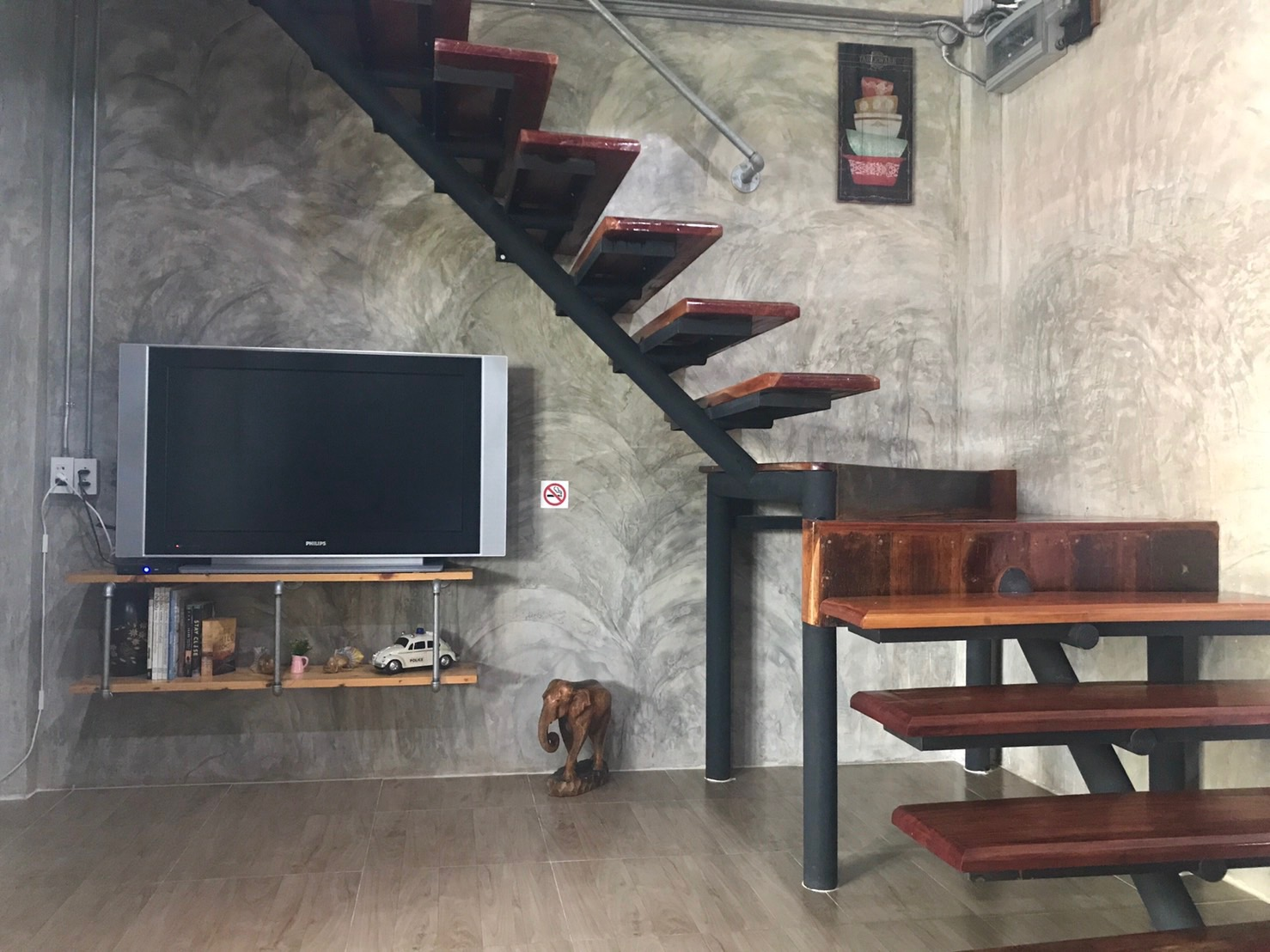 Room living area and solid teak stairs