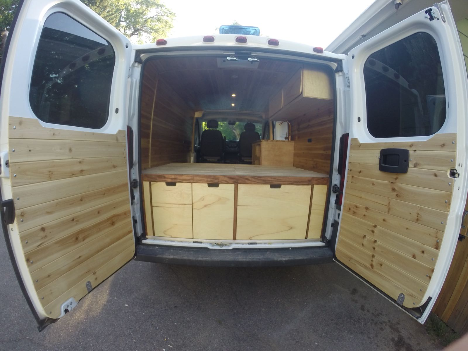 Custom van conversion home storage