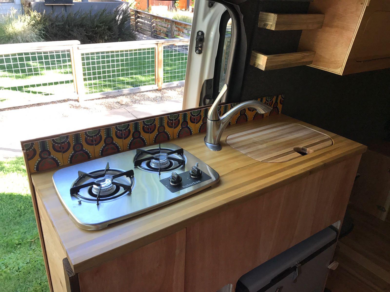 hand painted ceramics in custom van conversion for van home