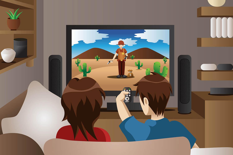 Casal assistindo IPTV