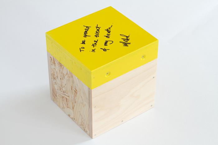 TBOITEOMD  Timber offcuts, screws, paint; contents hidden; 2011