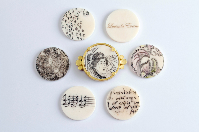 Vignettes [Lucinda's Brooch]  Gold, bone