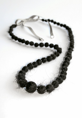 Hair Beads  Hair, silk cord, cotton ribbon, gold; 2007