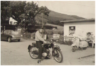 Me on my first motorbike outside the shop in 1964