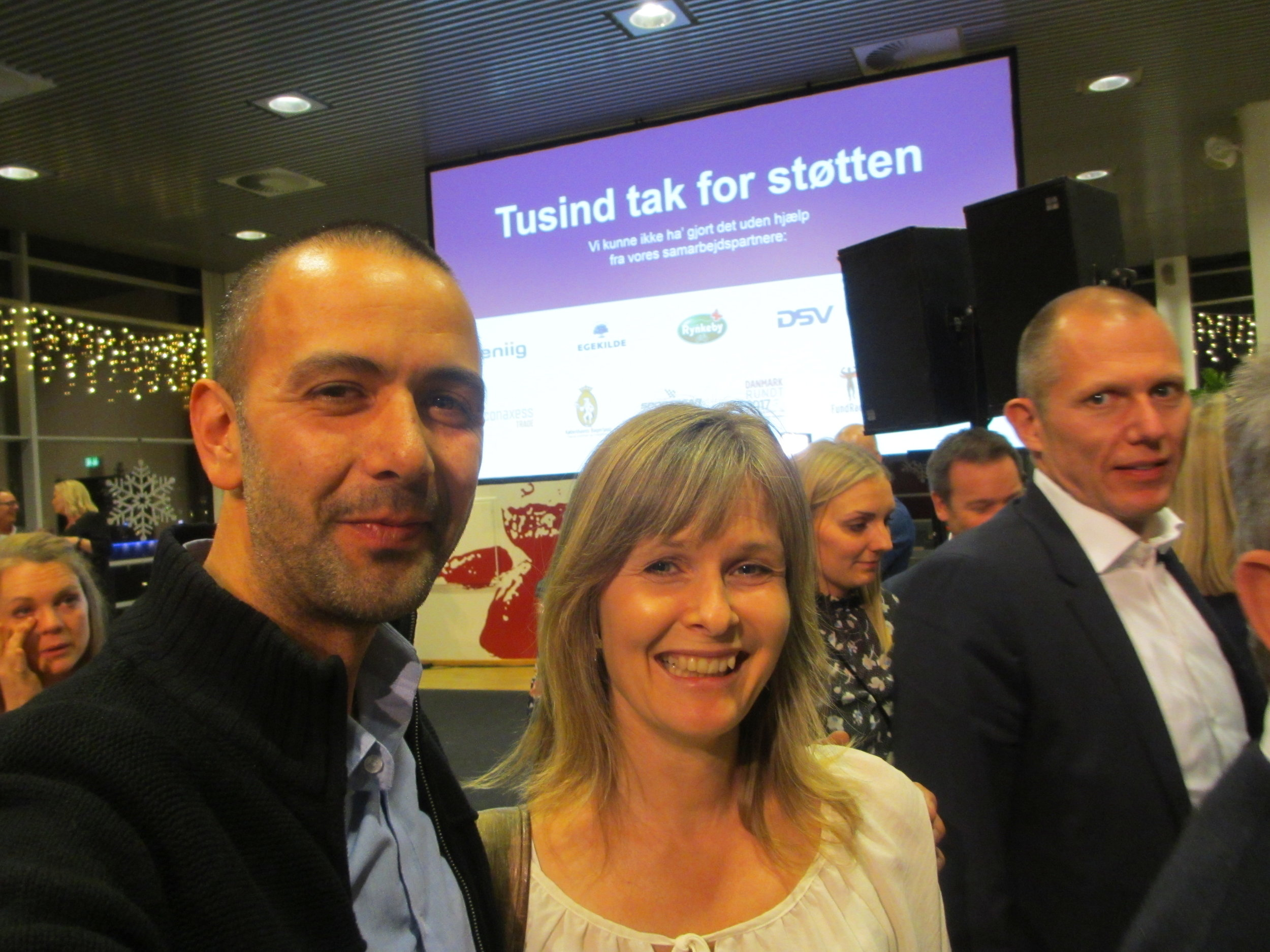 Catharina Messell (MICO music therapist at Rigshospitalet, Copenhagen) and Ilan Sanfi (primary investigator) at the Danish Børnecancerfonden´s special award show, November 2017 – receiving a new research grant.
