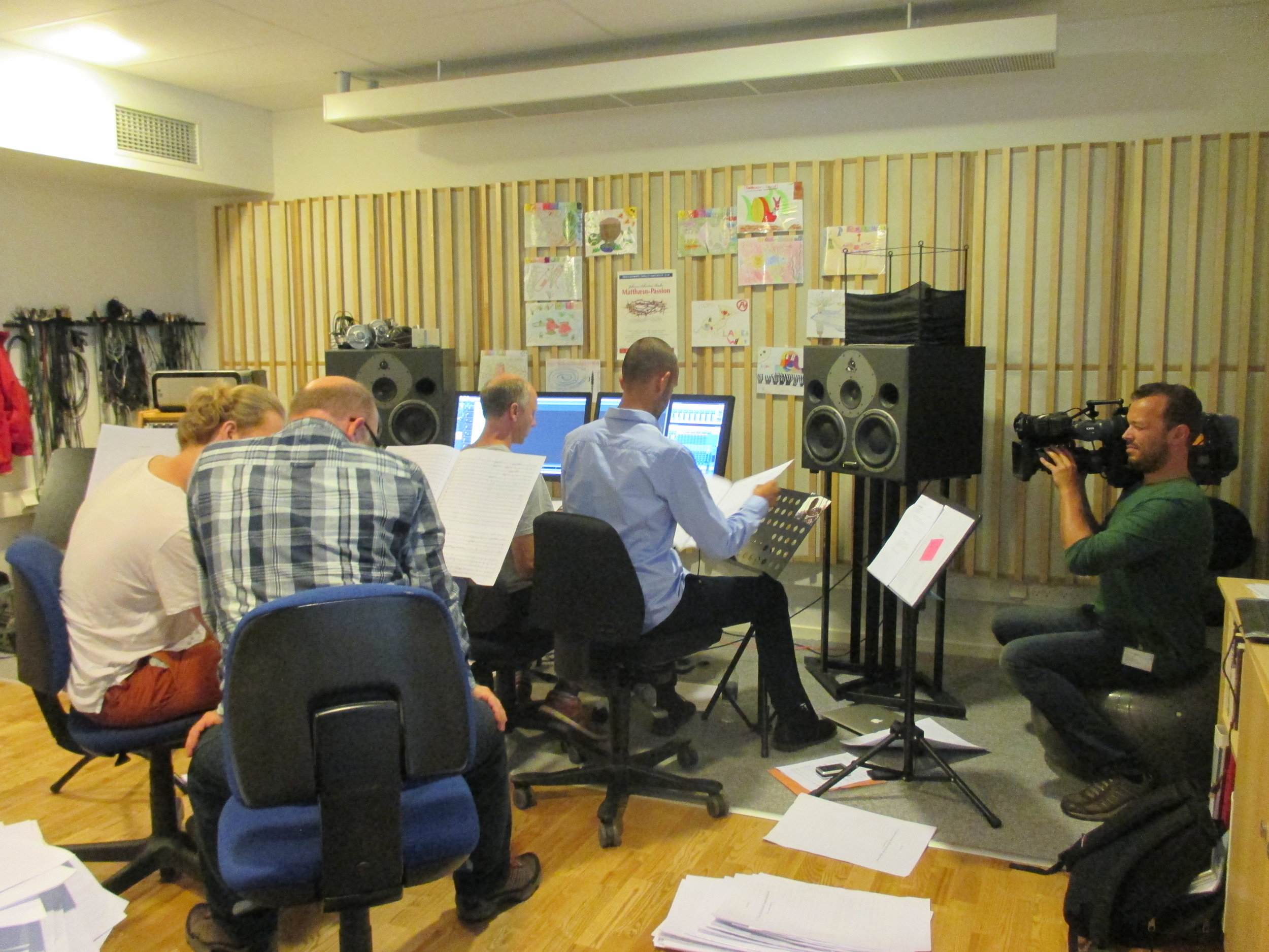 In the control room during the recording of Ilan´s music with Aarhus Symphony Orchestra – covered by the national news in the Danish Broadcasting Corporation (TV–Avisen, DR1)