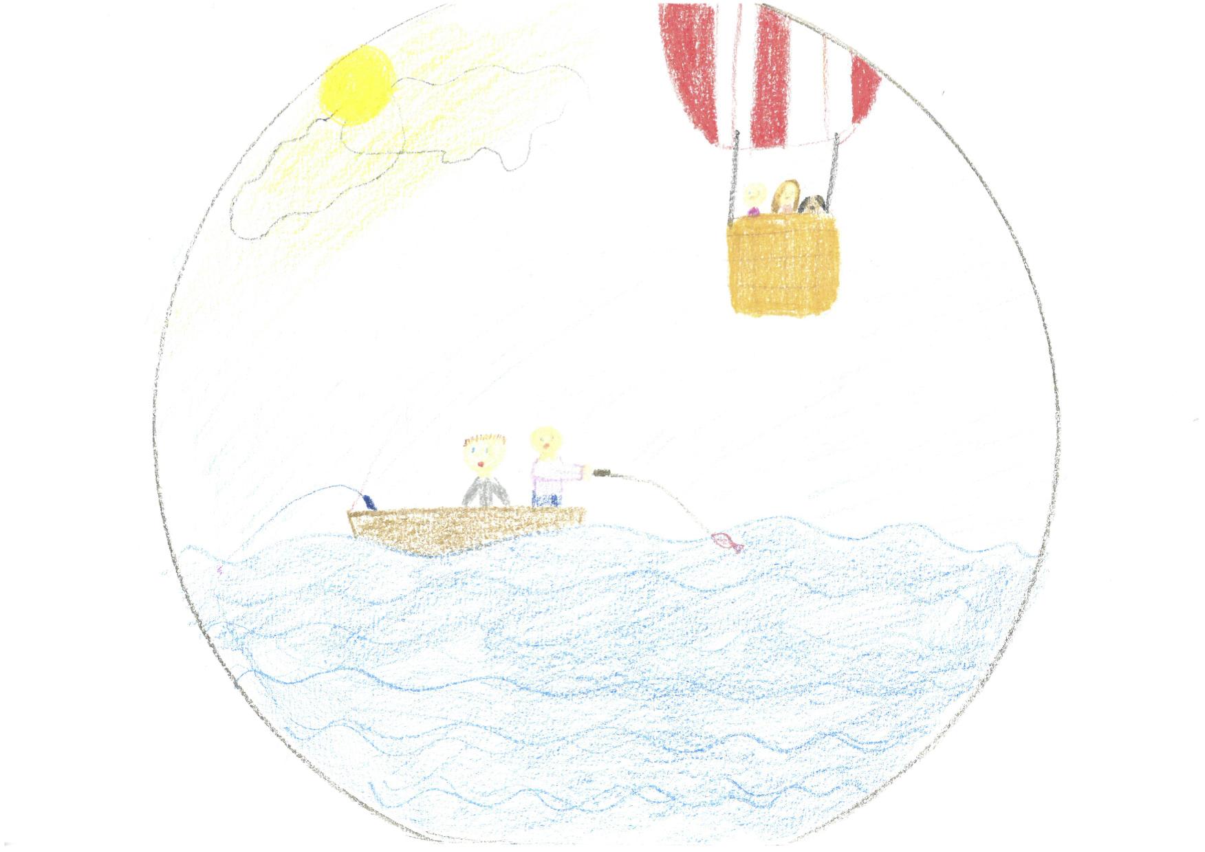"""Pige på 12 år i behandling for kræft og deltager i MICO projektet.  Tegning fra session på pigens hospitalsstue, hvor pigen ønsker at høre musikfortællingen  Den magiske luftballon . Pigens far deltager også, hvilket han har gjort flere gange før.  Efter musikfortællingen laver pigen en tegning med to personer, der fisker i en båd på en sø og en luftballon. Pigen fortæller musikterapeuten, at hun under musikfortællingen så sig selv flyve i luftballon med sin søster og sin hund. Om båden fortæller pigen, at hun fisker med sin far og at hun drømmer om at få en båd og komme ud at fiske. Hun uddyber, at hun forbinder det at fiske med frihed og at komme lidt væk fra det hele, hvilket musikfortællingen gav mulighed for på et indre plan.  Pigen giver tegningen titlen  Frihed  og fortæller, at det vigtigste i tegningen og oplevelsen er at være sammen med familien, og at tegningen viser """"En god dag"""" med familien.   Girl 12 years, in cancer treatment and participant in the MICO study.  The drawing originates from a music therapy session in the girl´s hospital room in which she wished to hear the music narrative  The Magic Hot Air Ballon . The girl´s father also participated in the session, which he did several times during her participation in the MICO study.  After the music narrative the girl makes a drawing of two persons in a boat fishing in a lake and a hot air balloon flying above the lake.  In the subsequent dialogue the girl explains to music therapist that she imagined herself flying in the hot air ballon with her sister and her dog. As to the boat, she tells that she imagined fishing with her father and that she dreams of having a boat and go fishing. She continues and explains that she associates fishing with freedom, which the music narratives afforded on an inner level. The girl designates the drawing the title  Freedom  and tells that the most important thing in the drawing and her experience are to be together with her family and that the drawing reflects """"A lo"""