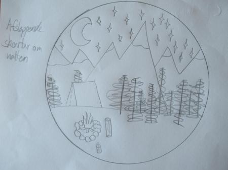 Tegning af pige på 17 år (på Cool Camp), som afsluttede sit kræftbehandlingsforløb i 2017.  Mens pigen hørte  Haven , oplevede hun at være på en afslappende skovtur om natten ude i naturen. Hun var alene og nød den fred og ro, som var i skoven plus det smukke måneskin.  Drawing by 17–year–old girl (on Cool Camp), who ended her cancer treatment in 2017.  During the music narrative  The Garden  she imagined being on a relaxing picnic in the night in the nature. She was by herself and enjoyed the peace and quiet of the forrest and not least the beautiful moonlight.