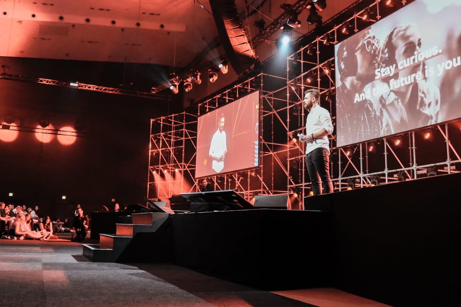 Stefan giving his opening speech at Fifteen Seconds 2018