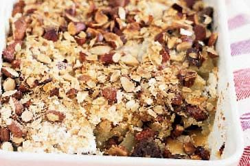 Cheat's apple and fig crumble