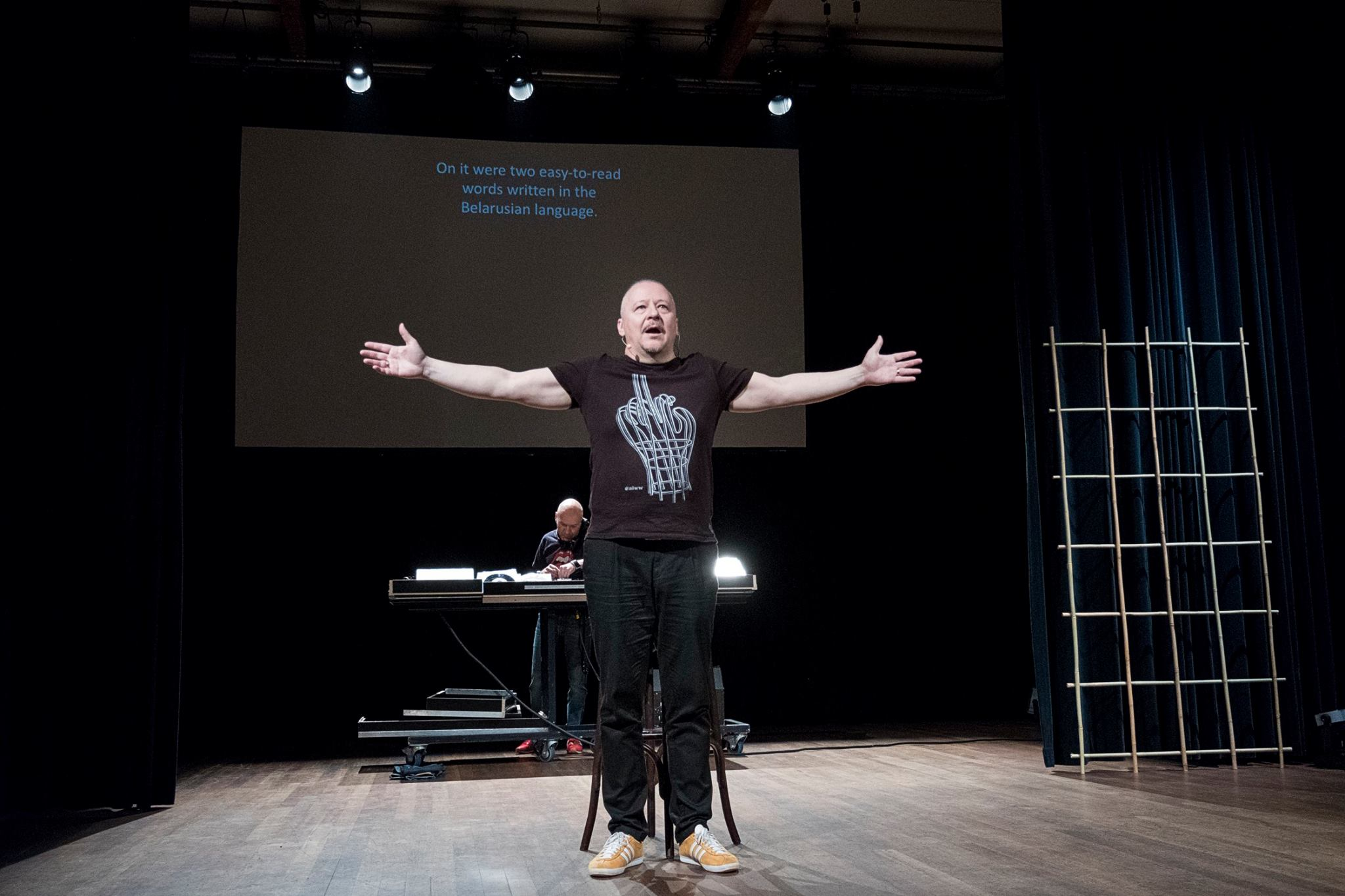 Nikolai Khalezin performing during the Forum on European Culture in Amsterdam in May 2018.