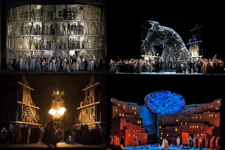 """Les troyens - san francisco opera - """"Les Troyens"""" von Hector Berlioz ist eine Monster-Oper. Eigentlich zwei Opern in einer, da der erste und zweite Teil auf jeden Fall jeweils lange genug für einen eigenen Opernabend wären und auch die Kulisse wie in diesem Fall für mehr als eine Oper reichen würde. Aber genau das ist das Besondere. Wir bringen Visionen auf die Bühne und entführen das Publikum in Kunst- und Traumwelten. Unsere Produktion (hier Highlights schauen) an der San Francisco Opera umfasste 16 voll bepackte Schiffscontainer voller Kulissen, Kostüme und Requisiten, die direkt von unserem Ko-Produzenten Royal Opera House Covent Garden in den Hafen von Oakland kamen. Dort wurden sie dann auf unseren Lagerplatz gebracht, ausgeladen, gesichtet, die zu reparierenden/adaptierenden Teile in die Werkstätten gebracht, die Kostüme an unsere Besetzung angepasst oder neu geschneidert sowie alle Requisiten aufbereitet und eingelagert. Bevor wir das Set auf die Bühne stellten, haben wir den kompletten Bühnenboden mit 19 mm Spanplatten ausgelegt und dadurch statisch verstärkt, damit die großen Kulissenwägen auch sauber in die jeweiligen Positionen fahren konnten. Was für eine super Leistung der gesamten Mannschaft!Musikalische Leitung: Donald Runnicles, Regie: David McVicar, Co-Regie: Leah Hausman, Bühne: Es Devlin, Kostüme: Moritz Junge, Licht: Wolfgang Göbbel, Pia Virolainen Chorleitung: Ian Robertson, Choreographie: Lynne Page, Kampfchoreographie: Dave Maier, Co- Choreographie: Gemma PayneKo-Produktion: San Francisco Opera, Royal Opera House Covent Garden, Teatro alla Scala & Wiener Staatsoper"""