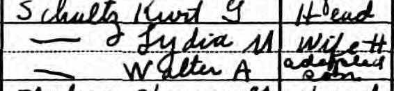 here grandpa was listed as the adopted son of Kurt and Lydia.  1930 U.S. census, Cuyahoga County, Ohio, population schedule, enumeration district (ED) 18-268, p. 19-A (stamped), p. 19-A (penned), dwelling 2, family 3, Walter A Schultz; NARA microfilm publication T626, roll 2,667.