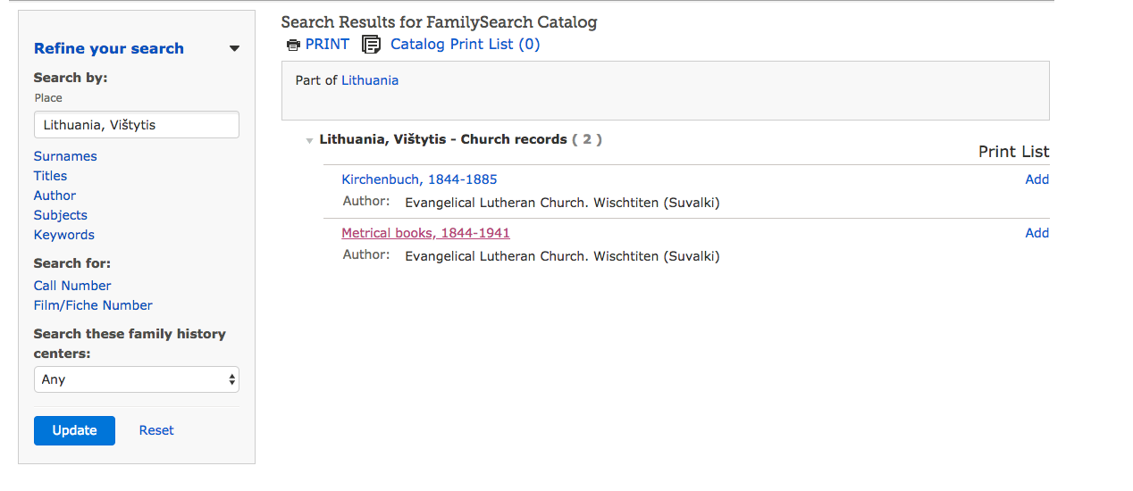 My search for Vistytis included two sets of records. The church books (Kirchenbuch) and Metrical books