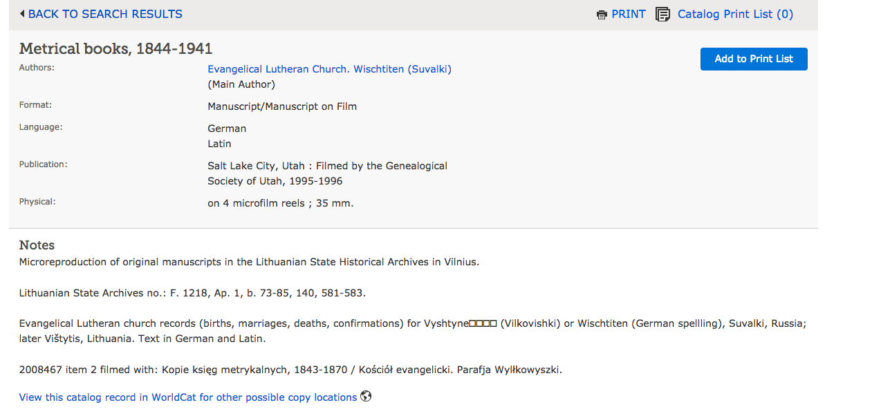 Here I can see that the Lithuanian State Archives holds the original books. It also tells me what is included in the records, and the geographic location of the records subjects.