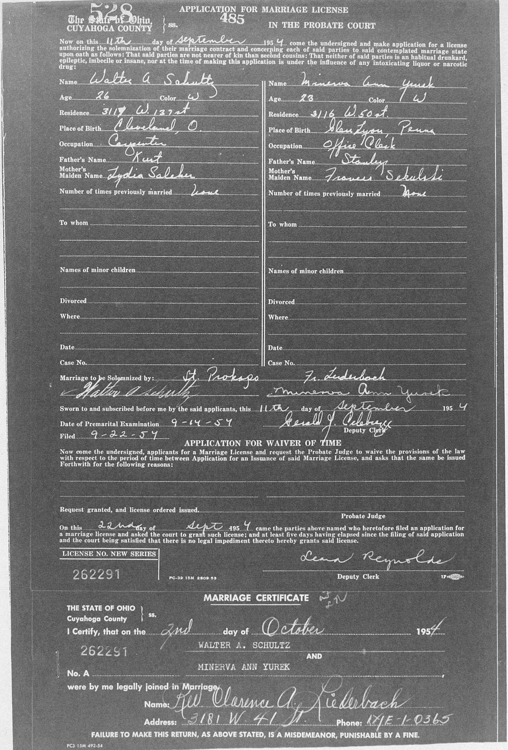 Cuyahoga County Archive; Cleveland, Ohio; Cuyahoga County, Ohio, Marriage Records, 1810-1973 ; Volume: 485 ; Page: 528 ; Year Range: 1954-1956