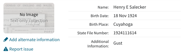 Ancestry.com.  Ohio, Birth Index, 1908-1964  [database on-line]. Provo, UT, USA: Ancestry.com Operations, Inc., 2012.