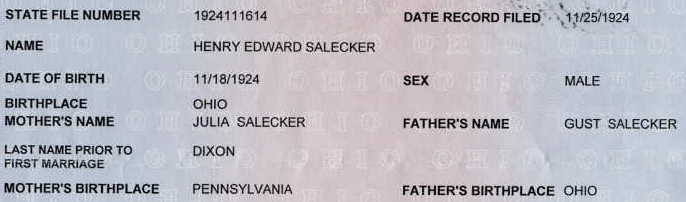 Edward's birth certificate extract from the State of Ohio.
