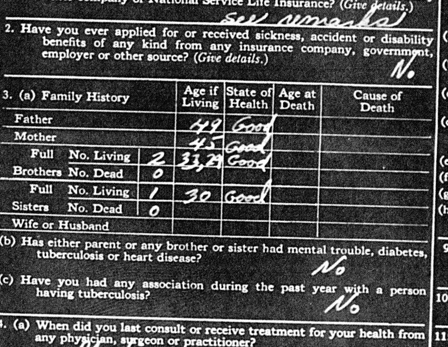 Insurance form my grandfather prepared ©2018 Personal Collection of Owen M. McCafferty II