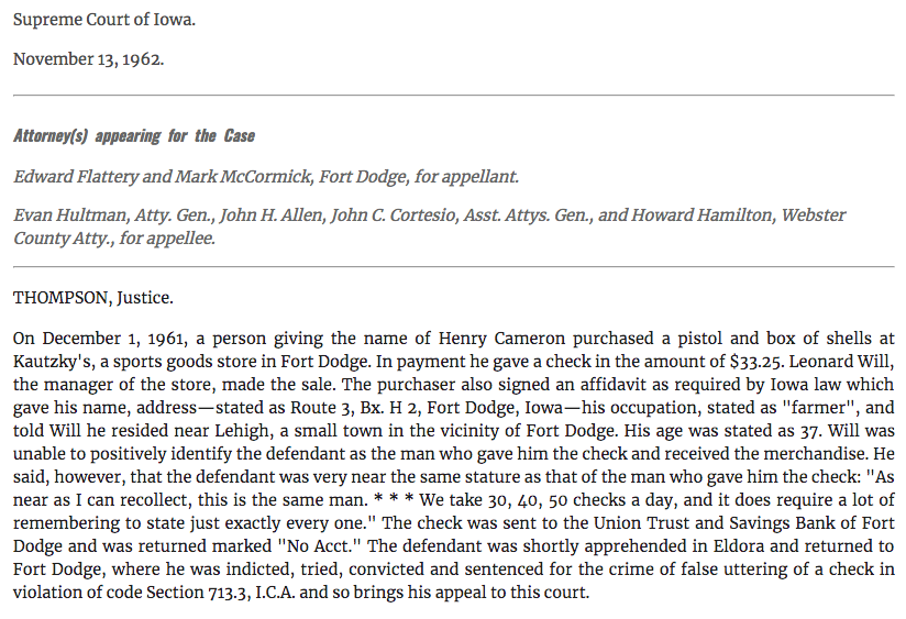 Part of the extract from the 1962 case. Via Leagle.com