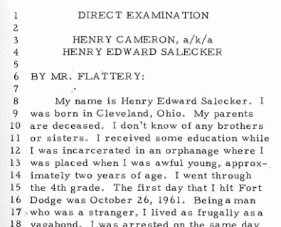 Extract from State V. Cameron 117.N.W.2d. 816 (1962). Provided digitally by the Iowa Supreme Court Archives