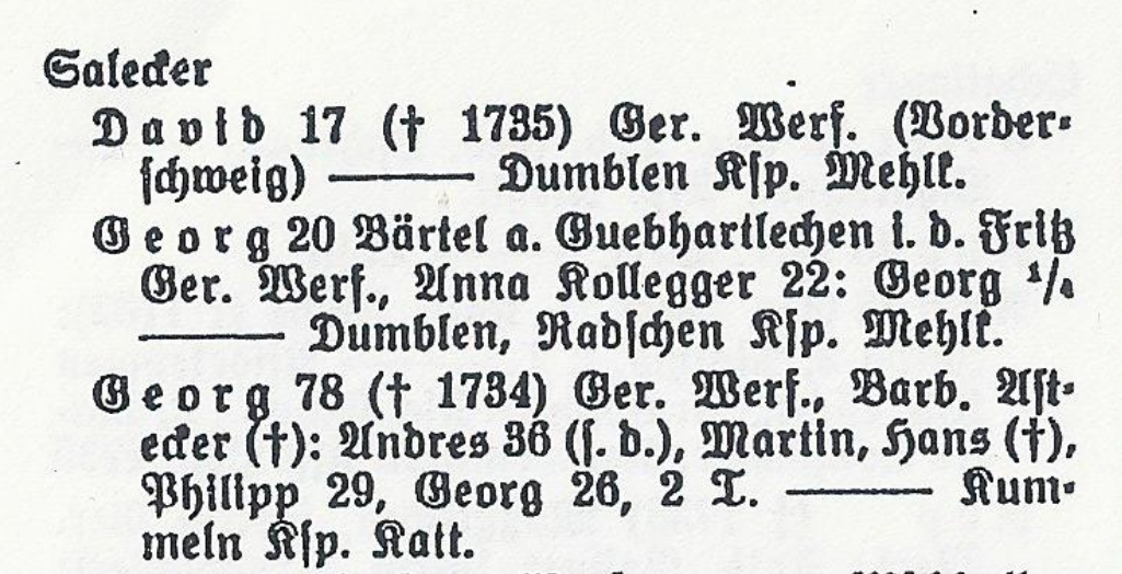 Entry from Gollub's Stammbuch for my family's own surname Salecker.