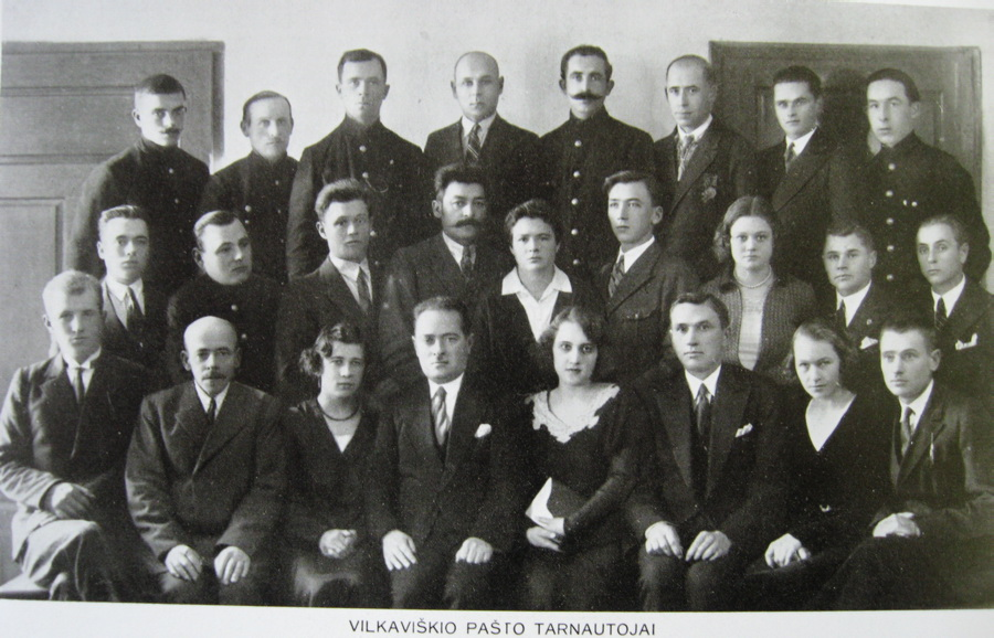 Staff of the Wilkowischken post office. Martha pictured directly centered. Date unknown, likely 1920-1930