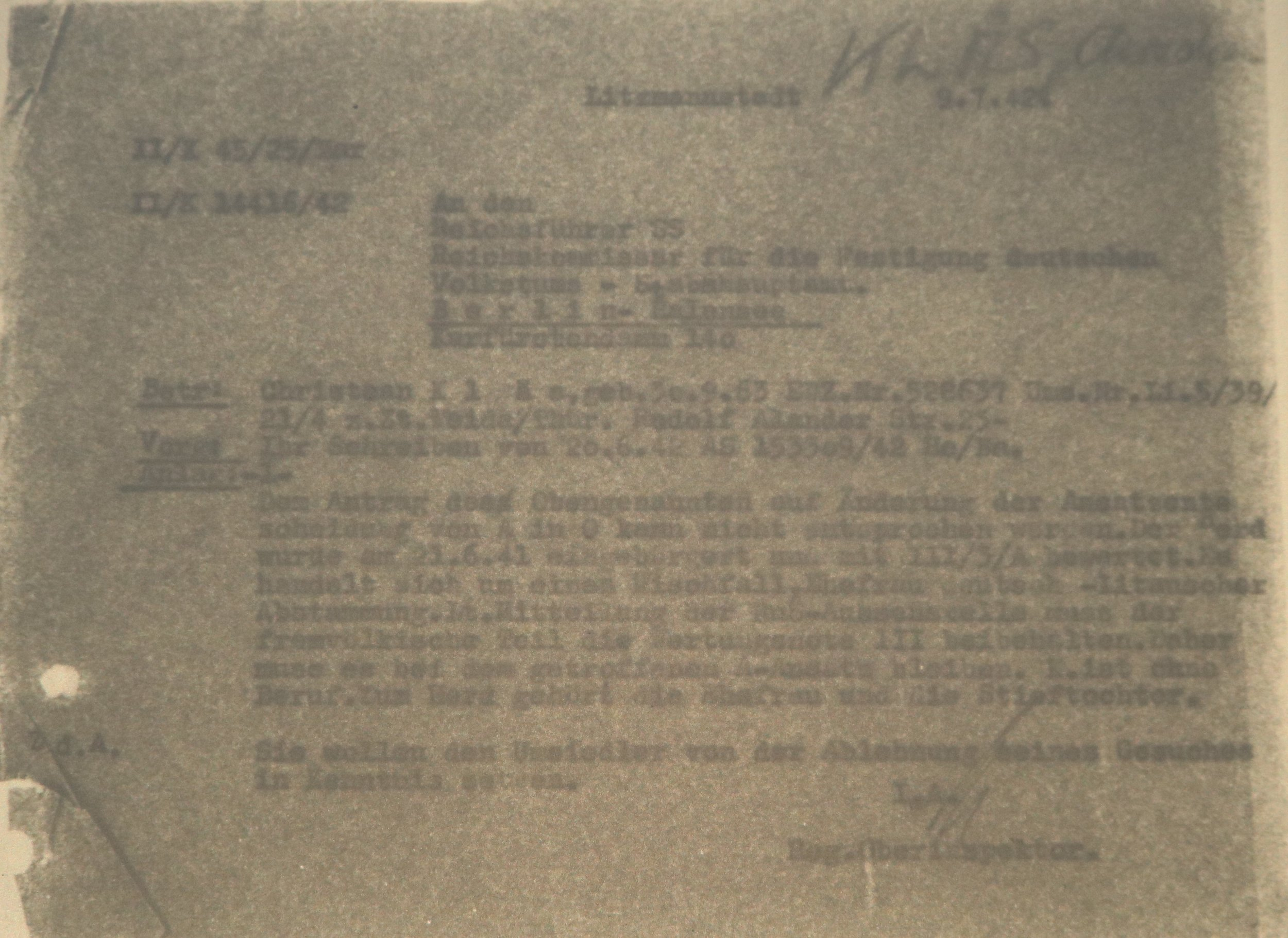 Letter from the EWZ office in Litzmannstadt from the 9th of July, 1942—in very poor condition