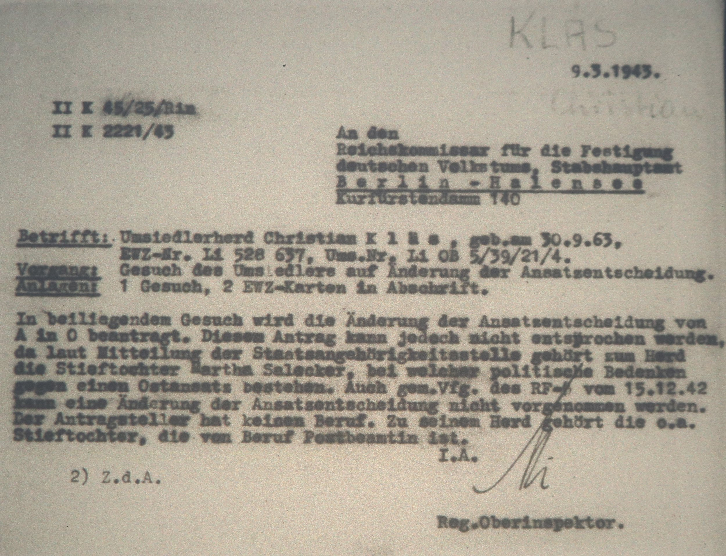 Letter from the EWZ inspector general to the RKFVD from 9th March, 1943.