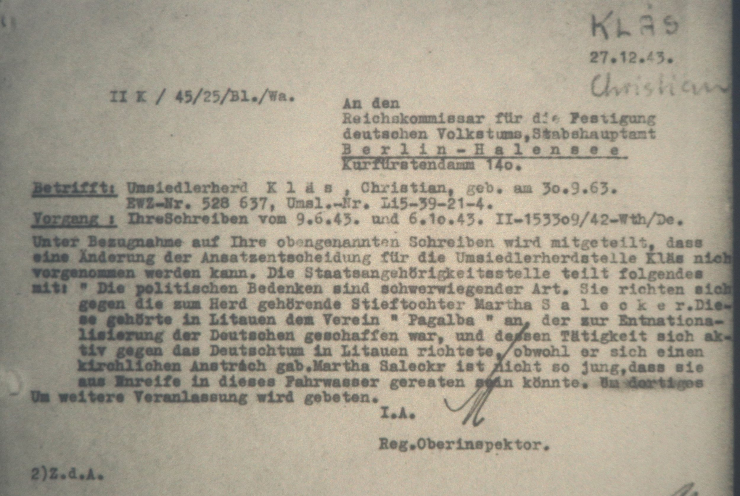 27th of December, 1943 letter to the RKFVD
