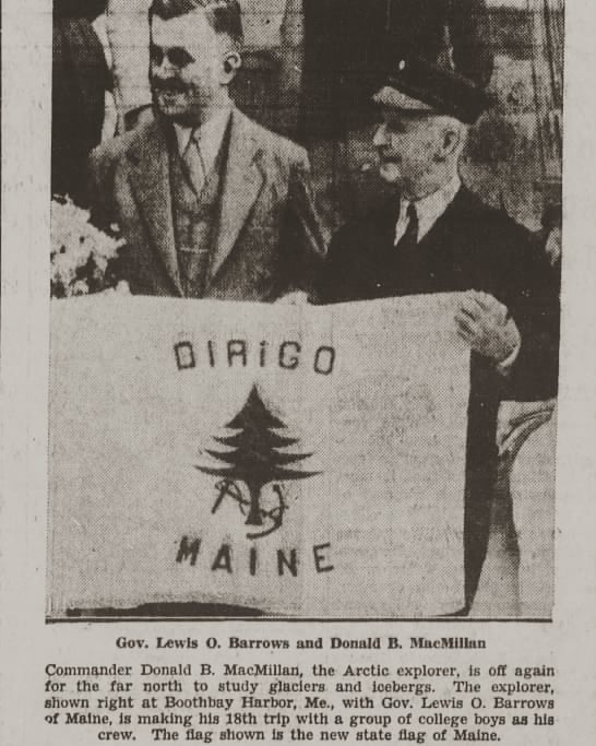 Maine's merchant and marine flag, presented to arctic explorer Donald MacMillan in 1939. The pine tree featured on it serves as the basis for the original Maine flag design we use at Maine Flag Company and Original Maine.
