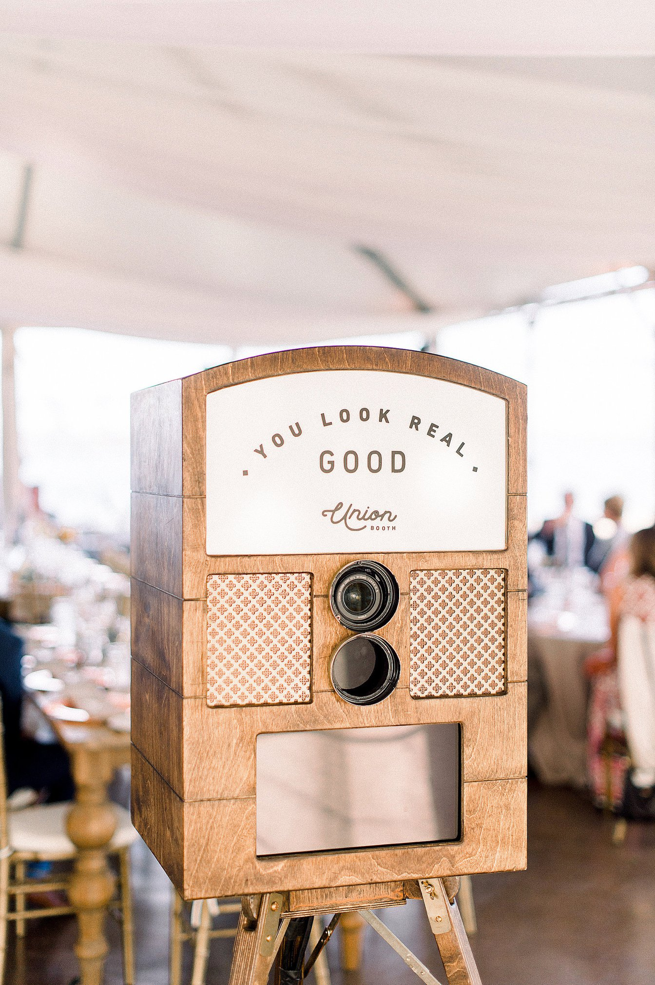 Vintage style wedding photo booth rental San Diego | Hawthorne photo booth for rental and purchase by Union Booth