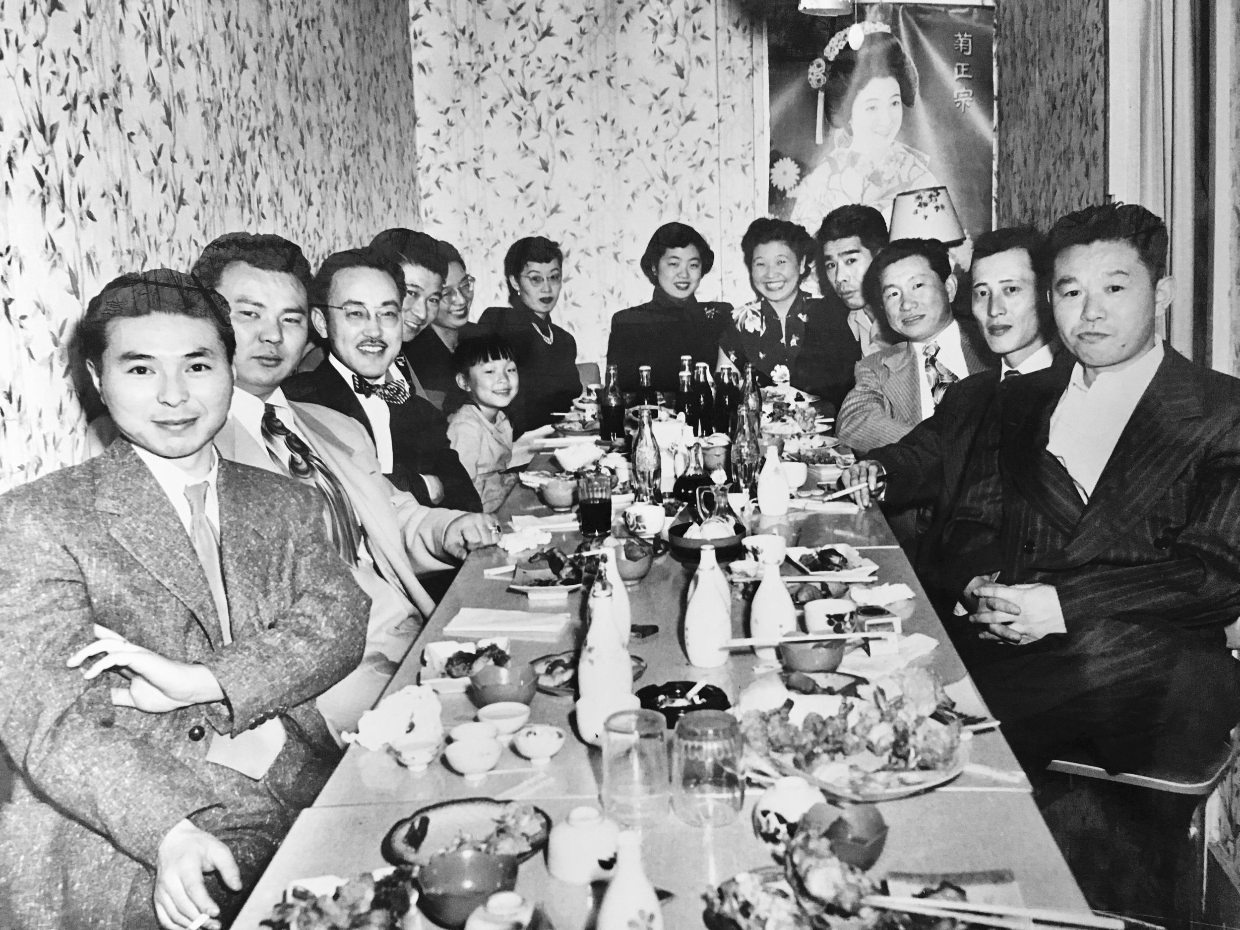 """Diana's grandfather's """"Leupp Group"""" after the camps (he's in the front right). This was the group of men who were sent to a Citizen Isolation Center in Leupp, Arizona for their """"unruly"""" behavior. Diana loves her grandpa's smug expression!"""