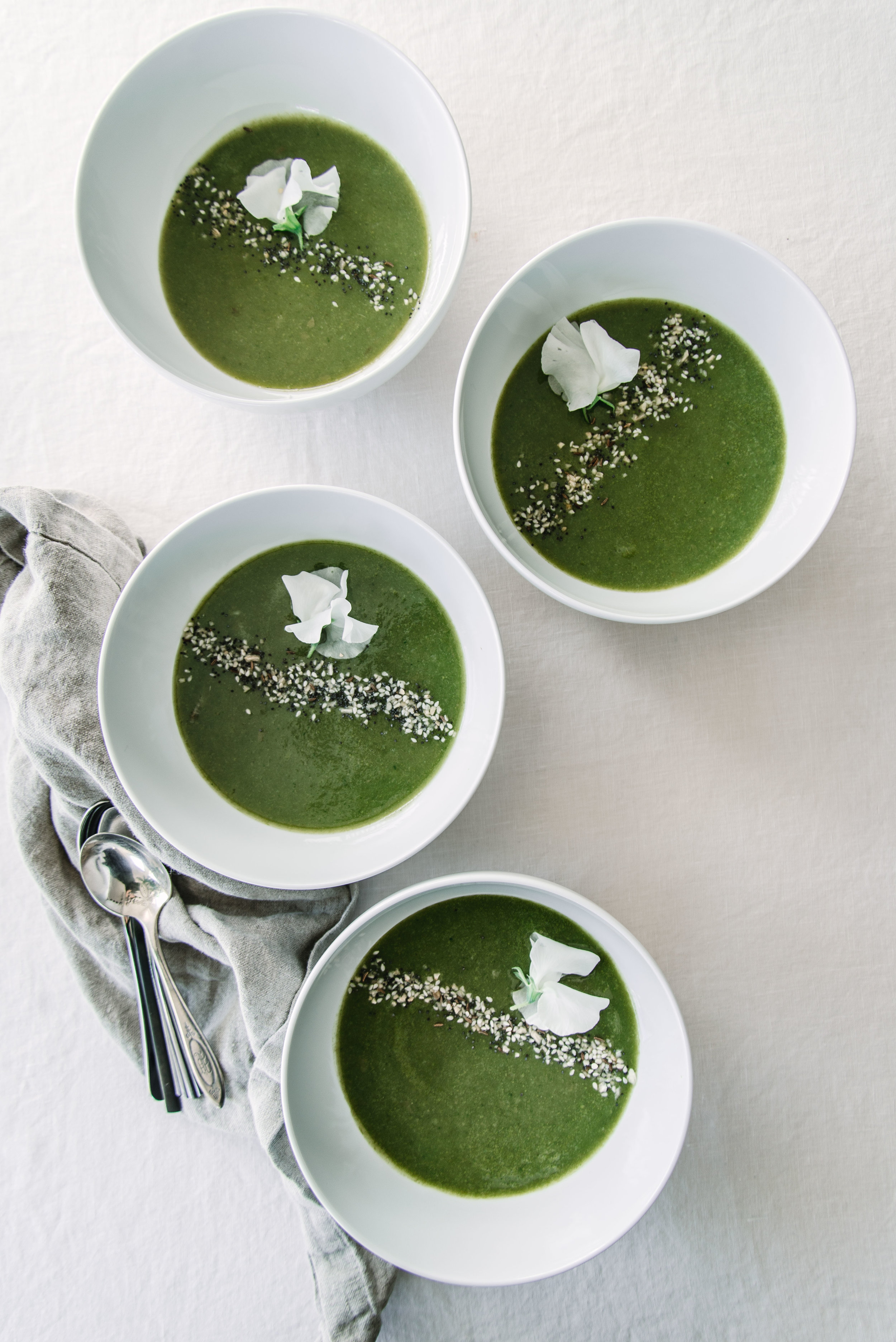 No-Waste Green Soup with Everything Bagel Mix