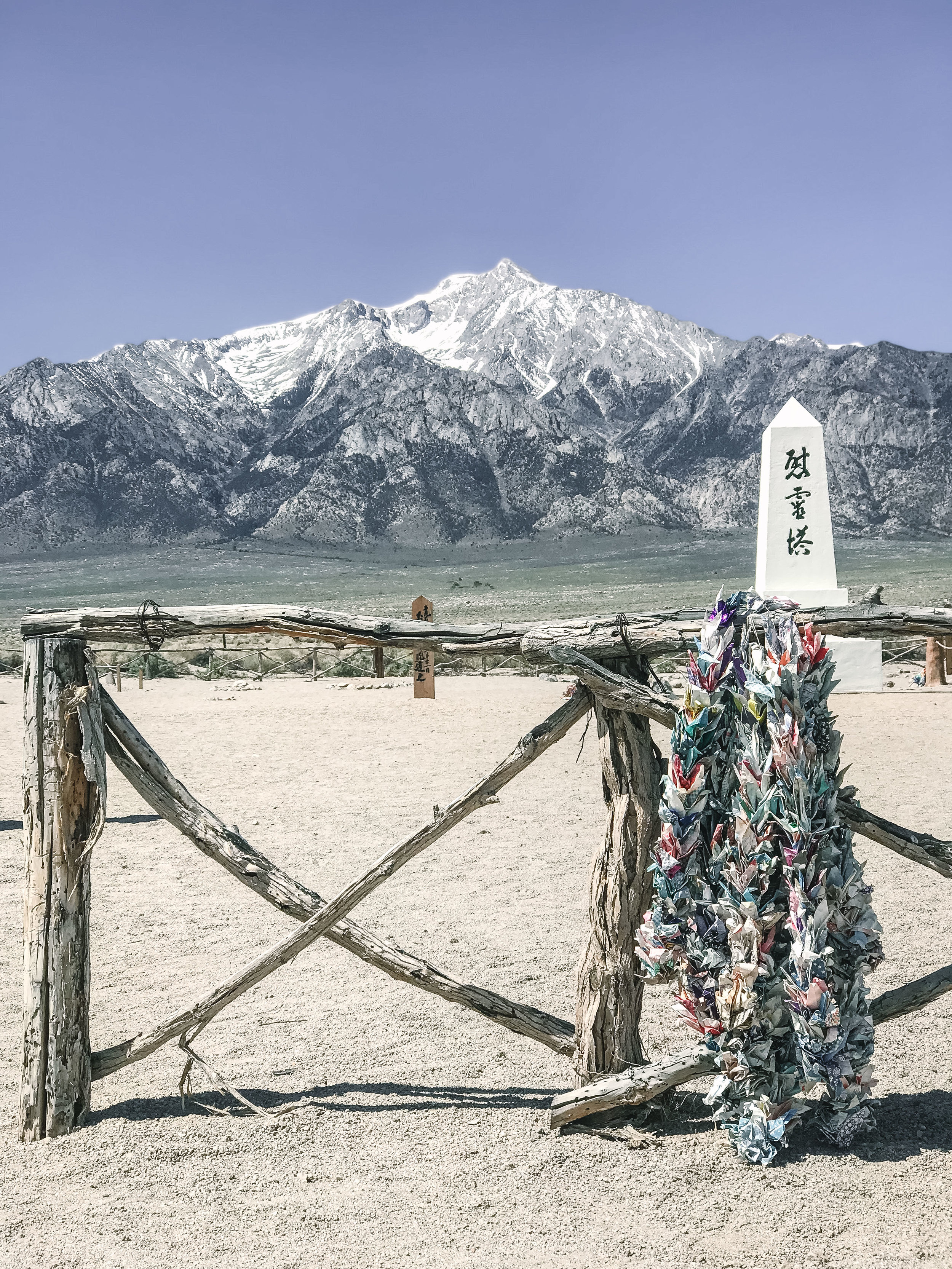 1,000 cranes with the soul consoling tower and the Sierras as a backdrop