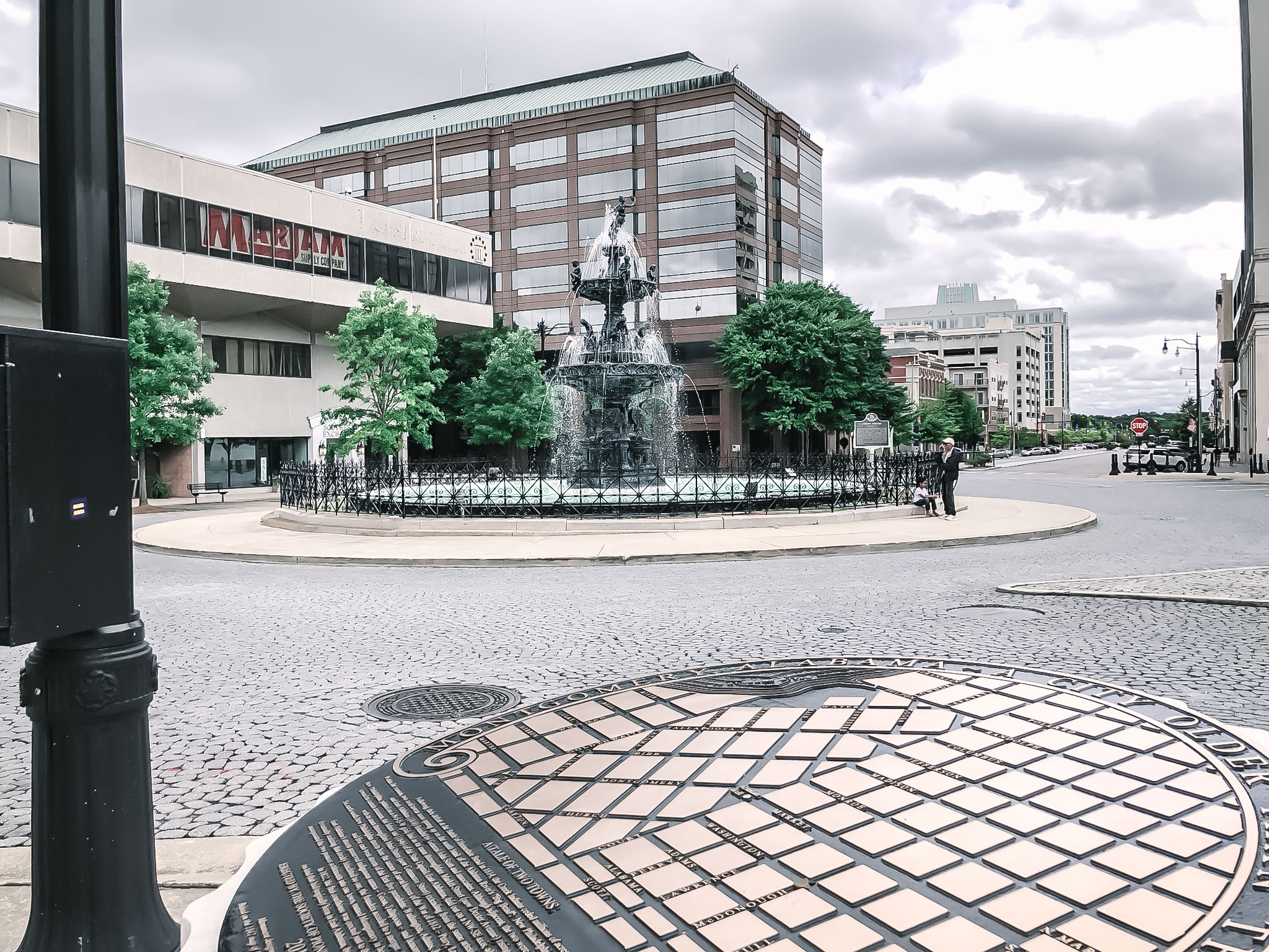 Court Square Fountain, built on an artesian well, originally used by the native tribes. The fountain was the center of the slave trade, where enslaved Africans (who had been kidnapped from their home countries) were chained together and paraded up the street to be sold at this fountain.