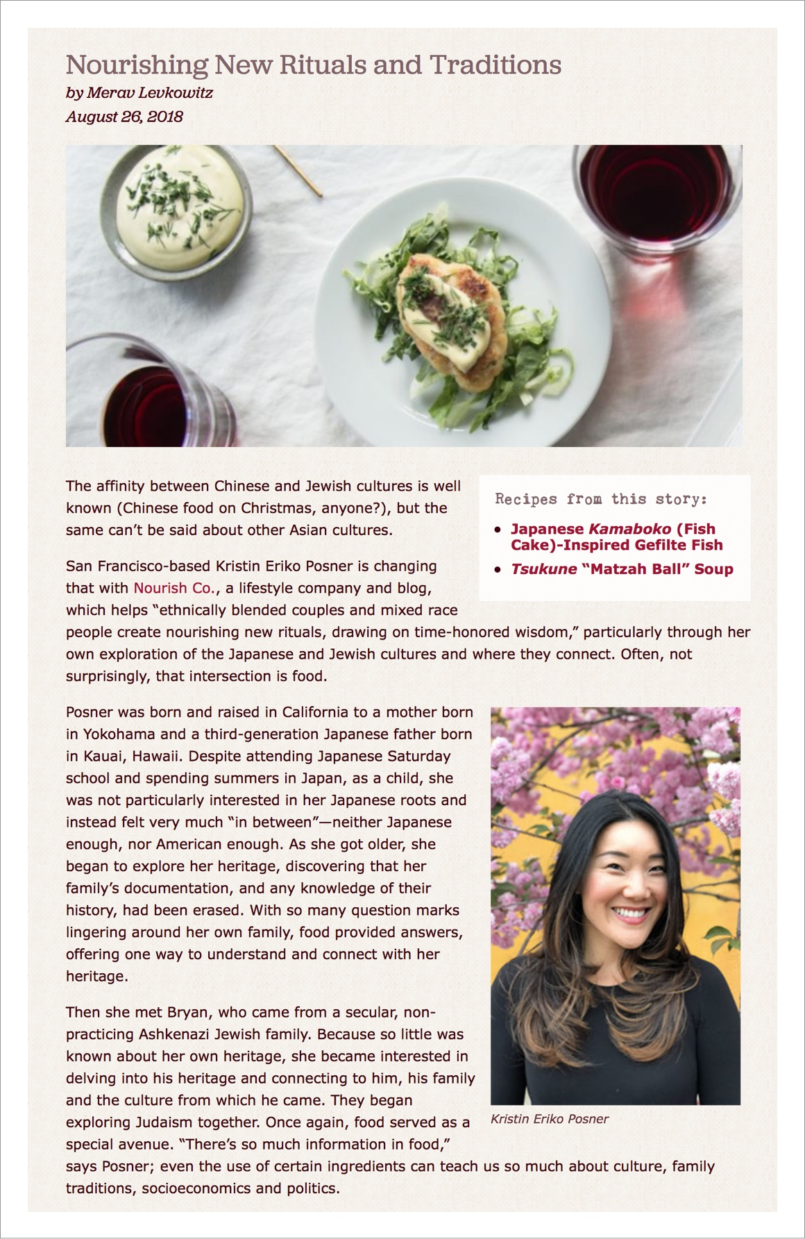 """""""Dishes like the Kamaboko Gefilte Fish and Black Sesame Hamantashen... are all examples of Posner's own 'cultural innovation,' which she ultimately hopes will inspire others... Sounds like a recipe for success to us."""