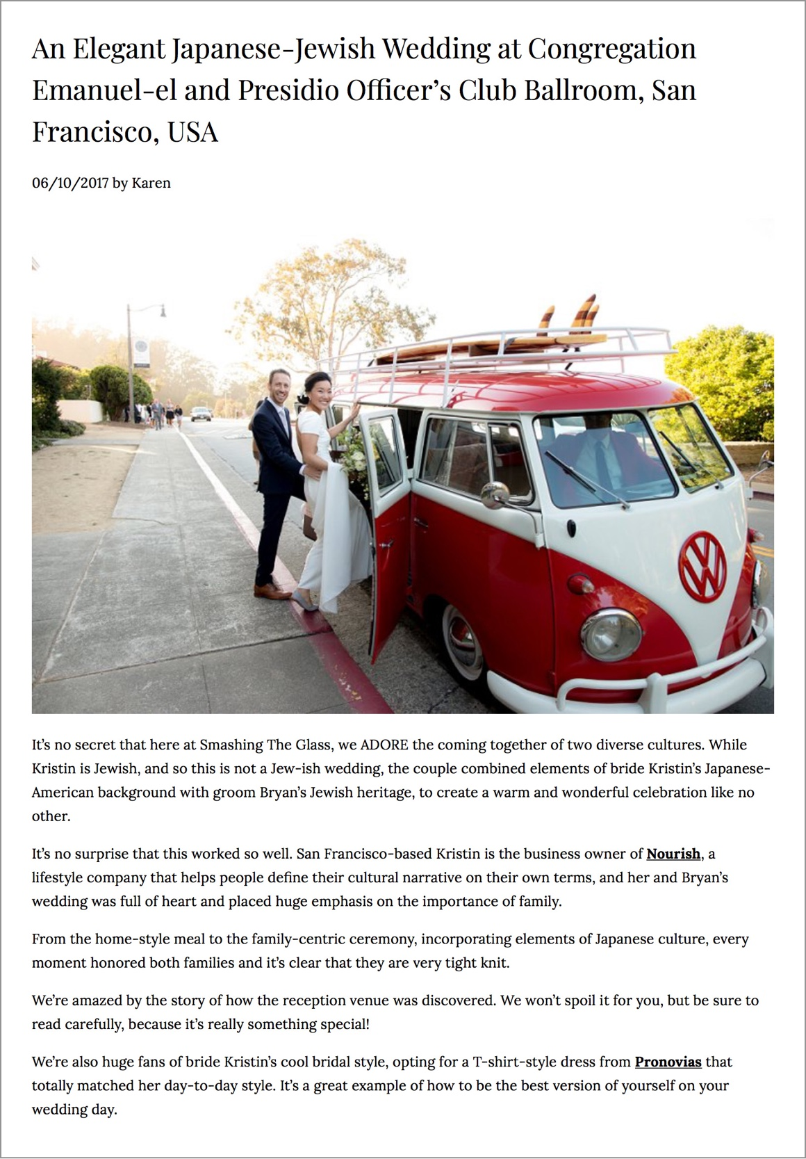 """""""While Kristin is Jewish, and so this is not a Jew-ish wedding, the couple combined elements of bride Kristin's Japanese-American background with groom Bryan's Jewish heritage, to create a warm and wonderful celebration like no other."""
