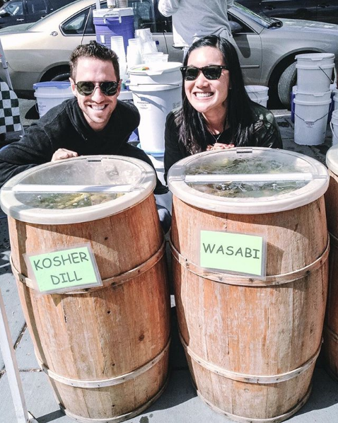 """Bryan and I spotted these pickle barrels next to each other and thought, """"look, it's us!"""" Since then, we've done a lot of blending of our Japanese and Jewish heritages."""