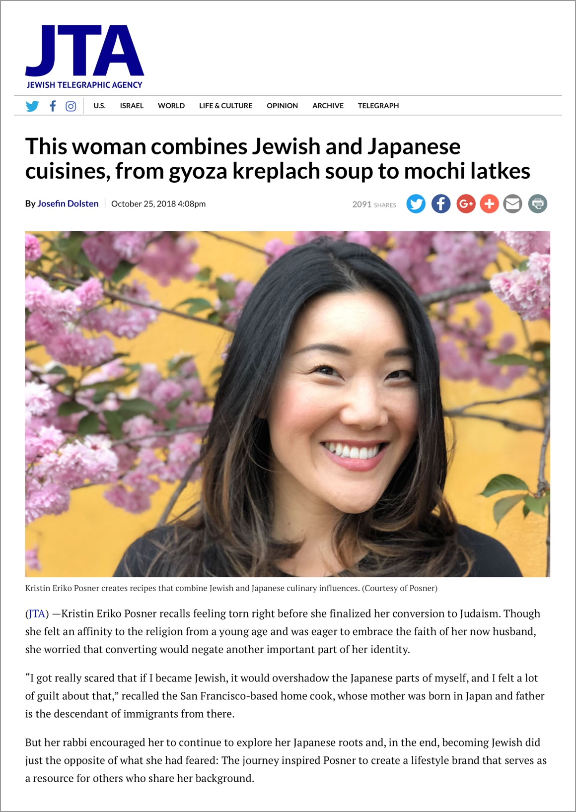 """""""Kristin Eriko Posner recalls feeling torn right before she finalized her conversion to Judaism. Though she felt an affinity to the religion from a young age and was eager to embrace the faith of her now husband, she worried that converting would negate another important part of her identity..."""