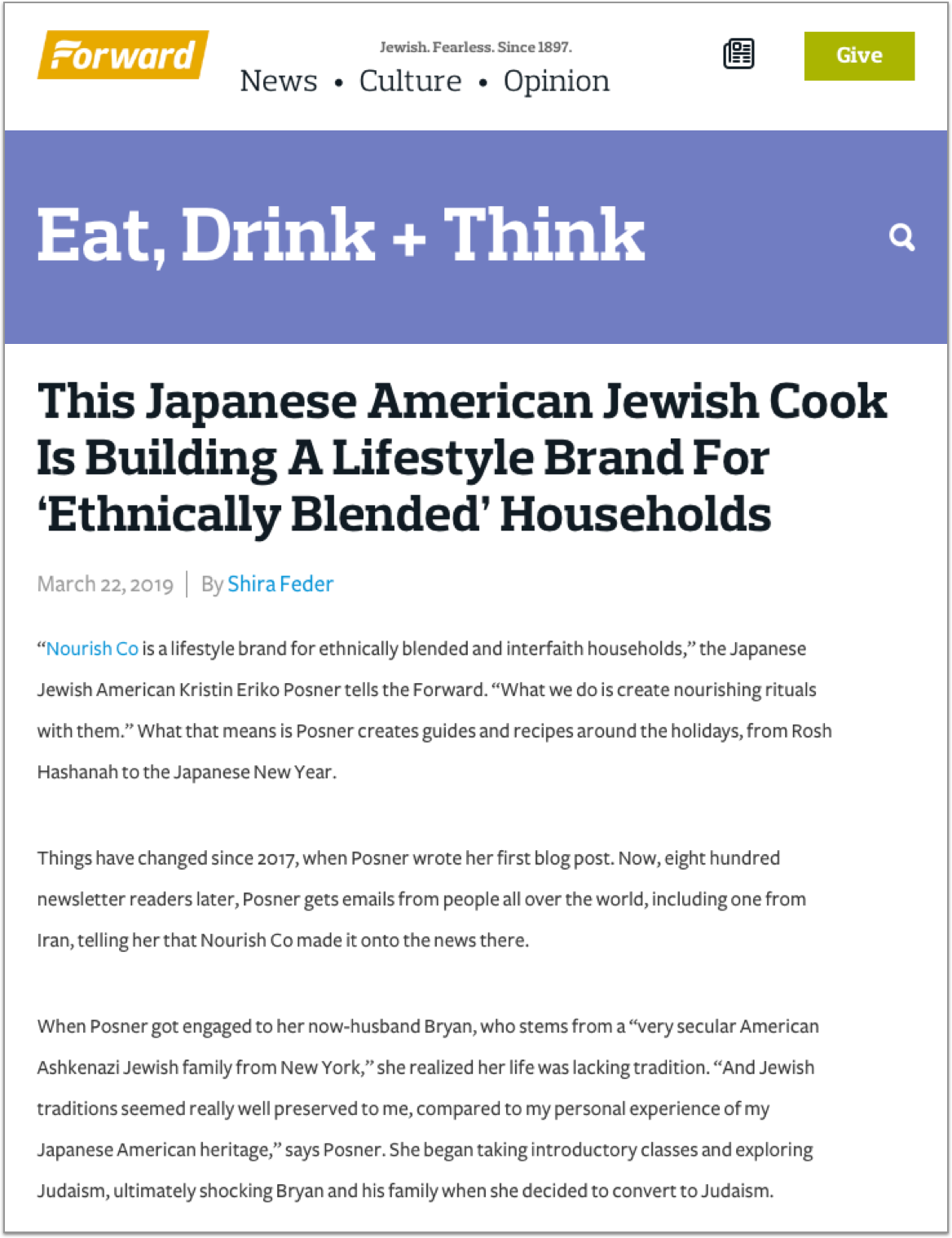 """""""So Posner has chosen her traditions, from the Japanese heritage she was born with to the Jewish heritage she has taken on. And she's celebrating her chosen traditions with her diverse ethnically blended base of followers, over a plate of chocolate chip cookies with matcha salt."""" - — Forward; read more →"""