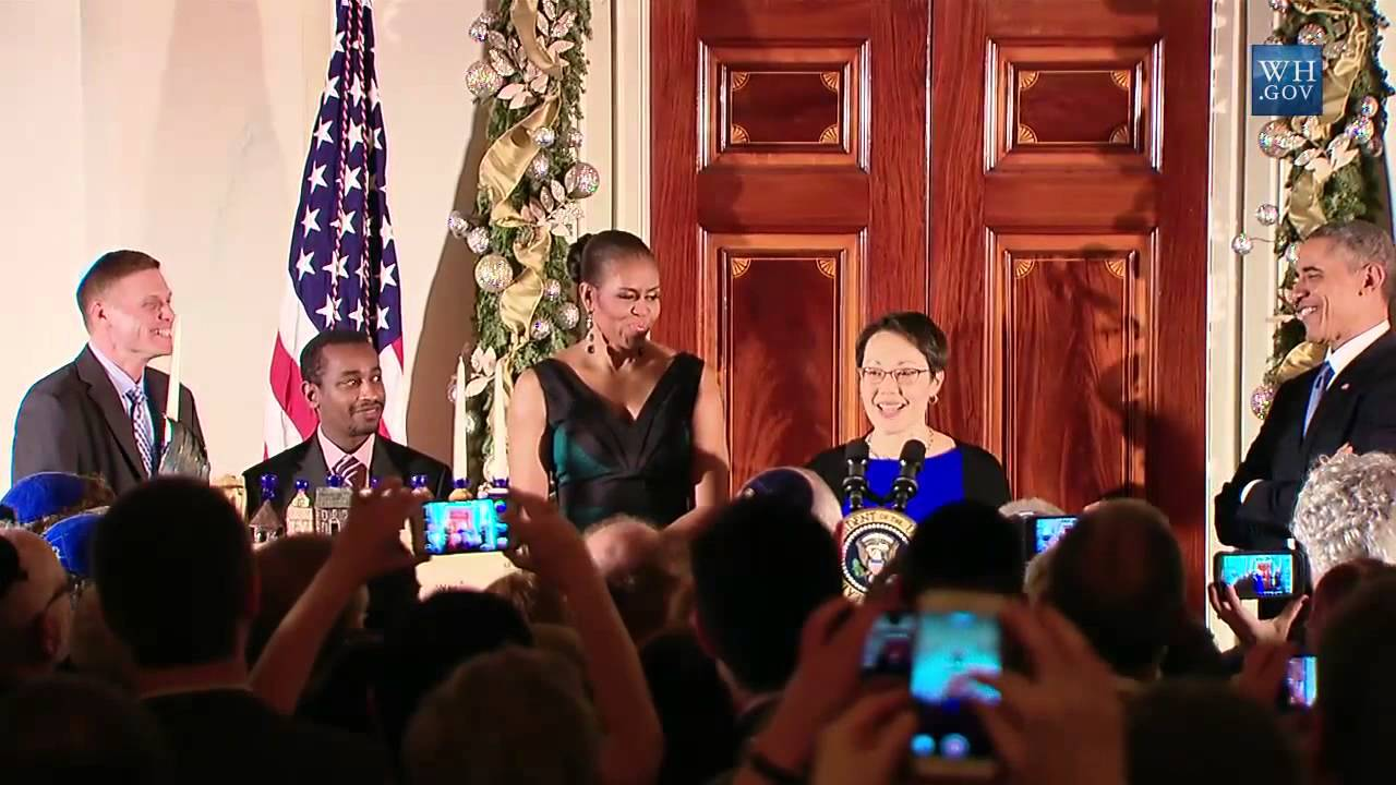 Rabbi Buchdahl with President and Mrs. Obama at a Hanukkah ceremony at the White House in 2014